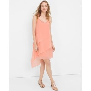 WHBM Asymmetric Tiered Dress Layered Midi Dress 8